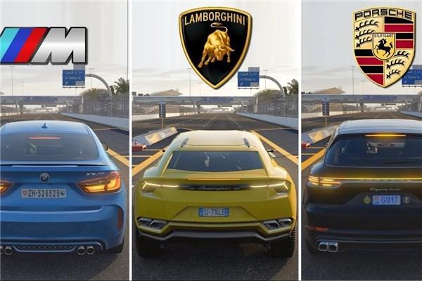 مقایسه جالب سه شاسی بلند BMW X۶M، لامبورگینی اوروس و پورشه کاین توربو در بازی Forza Motorsport ۷
