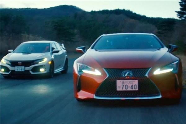 رقابت فوق العاده هیجان انگیز لکسوس LC۵۰۰ و هوندا سیویک Type R در برنامه Top Gear